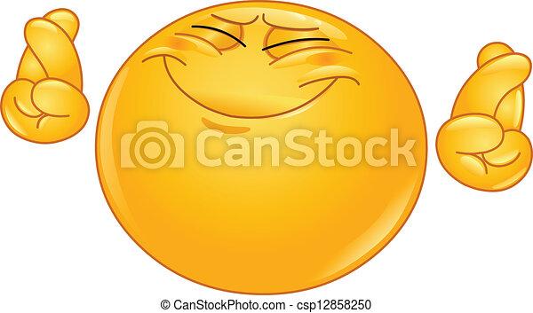 Crossing fingers emoticon - csp12858250