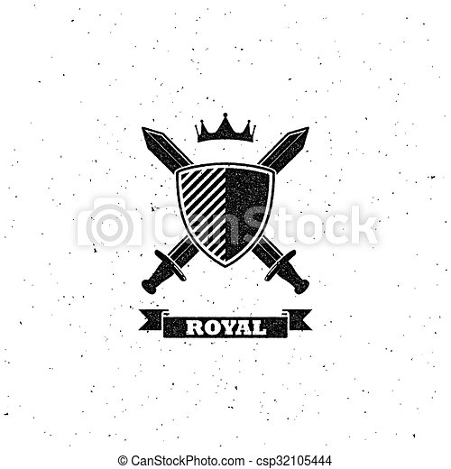 crossing swords, shield and crown label - csp32105444
