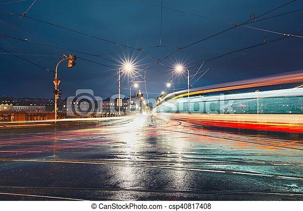 Crossroad in rainy night - csp40817408