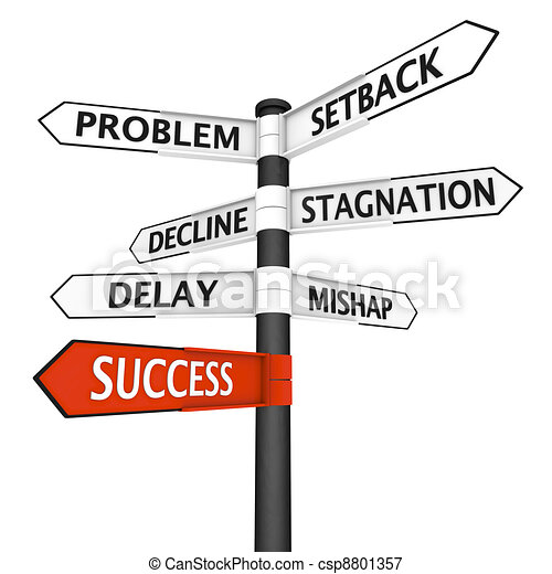 Crossroads sign with direction to success - csp8801357