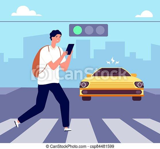 Crosswalk accident. Pedestrian walk crossing street, traffic danger. Man with smartphone violates road rules. Attention vector illustration - csp84481599
