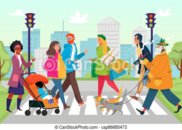 Crosswalk city road at street, vector illustration. Urban people near traffic light, flat pedestrian person character at cartoon town - csp86685473