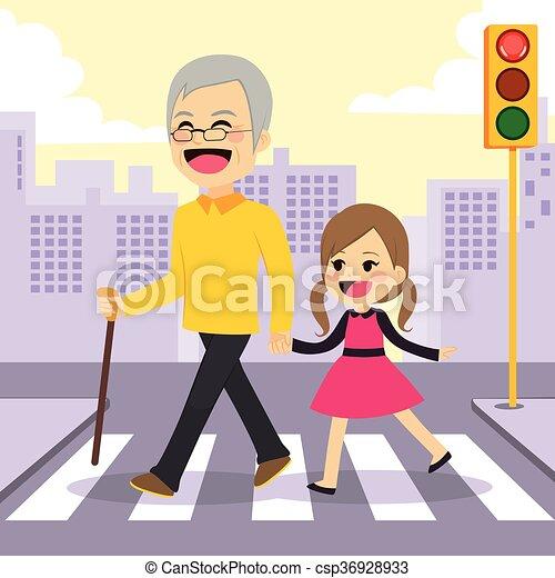crosswalking, meisje, hulp, grootvader - csp36928933