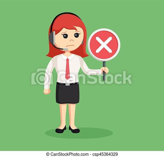Llama a la mujer del centro con señal cruzada - csp45364329