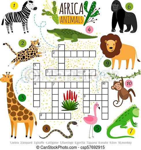 Crossword Africa Animals Kids African Crossword For School Children Words Searching Game Vector Illustration