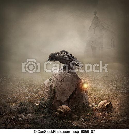 Crow sitting on a gravestone - csp16056107