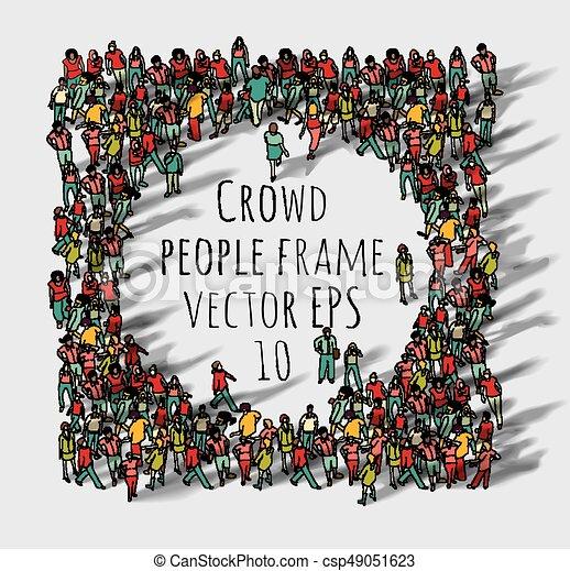 Crowd big group people frame. color vector illustration. eps8.