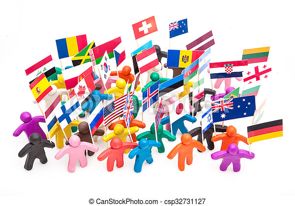 Crowd group of colourful plasticine humans with the various flags - csp32731127