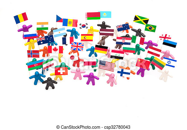 Crowd group of colourful plasticine humans with the various flags - csp32780043