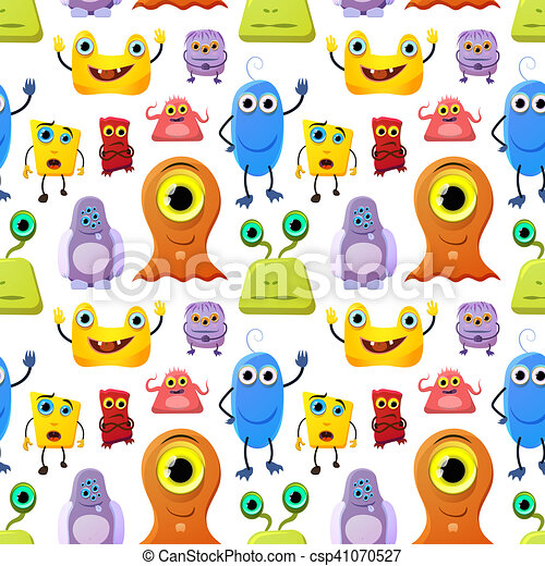 Crowd of cute monsters different colours on white background, seamless pattern - csp41070527