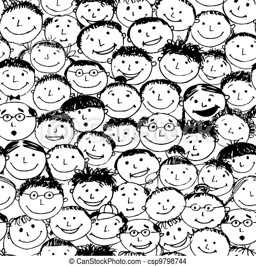 Crowd of funny peoples, seamless background for your design - csp9798744