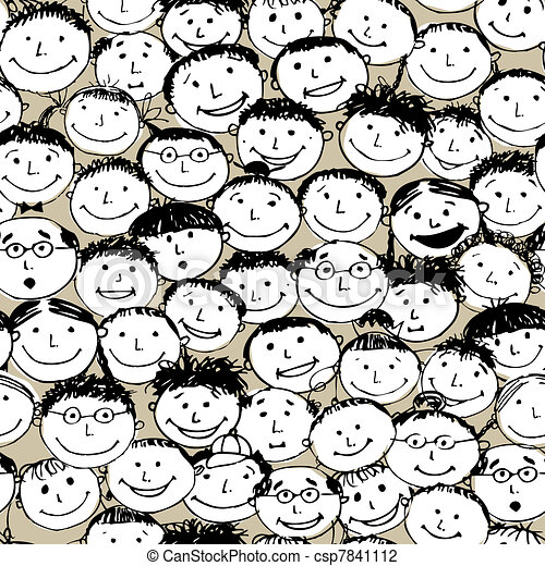 Crowd of funny peoples, seamless background for your design - csp7841112