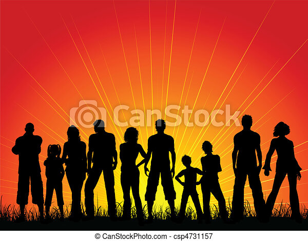 Crowd of people against a sunset sky - csp4731157