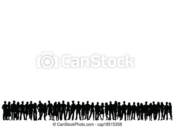 crowd of people - vector silhouettes  - csp18515358