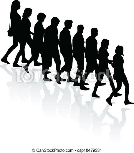 crowd of people - vector silhouettes - csp18479331