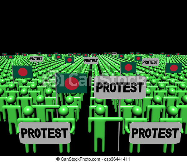 Crowd of people with protest signs and Bangladesh flags illustration - csp36441411