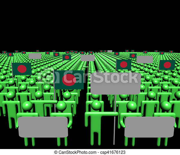 Crowd of people with signs and Bangladesh flags illustration - csp41676123