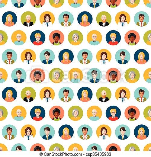 Crowd of round flat people avatars, seamless pattern - csp35405983
