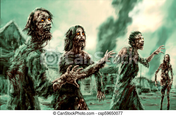 Crowd walking zombies against backdrop of burning city - csp59650077