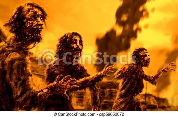 Crowd walking zombies against background of burning city - csp59650072