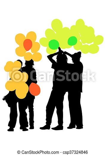 crowd with balloons crowd of people with balloons on a eps rh canstockphoto com crow clip art crow clip art