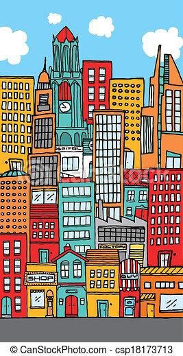 Crowded downtown city cartoon - csp18173713