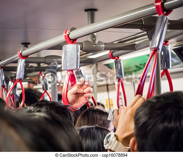 Crowded people in public transportation - csp16078894