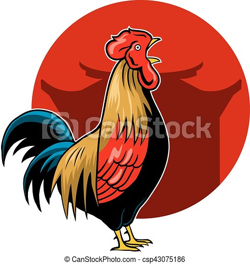 crowing rooster vector illustration for chinese new year vector rh canstockphoto com rooster vector chinese new year rooster vector image
