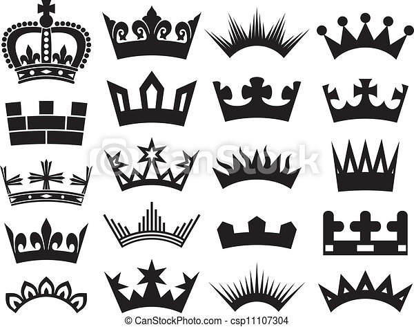 crown collection crown set silhouette crown set rh canstockphoto com aridi vector clipart collection free download vector clipart collection pack
