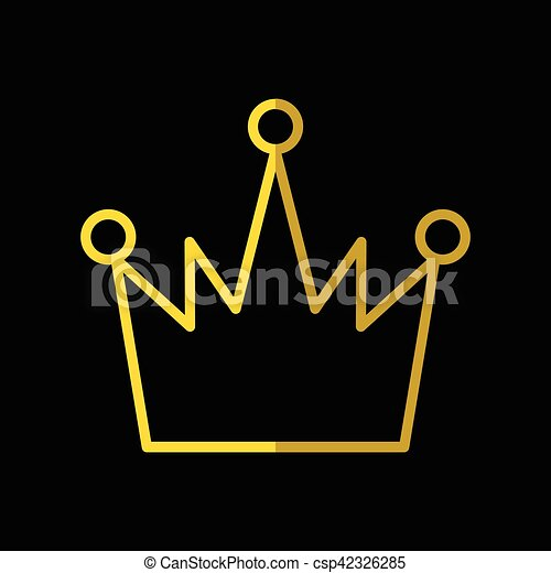 gold crown icon in flat style isolated on black background