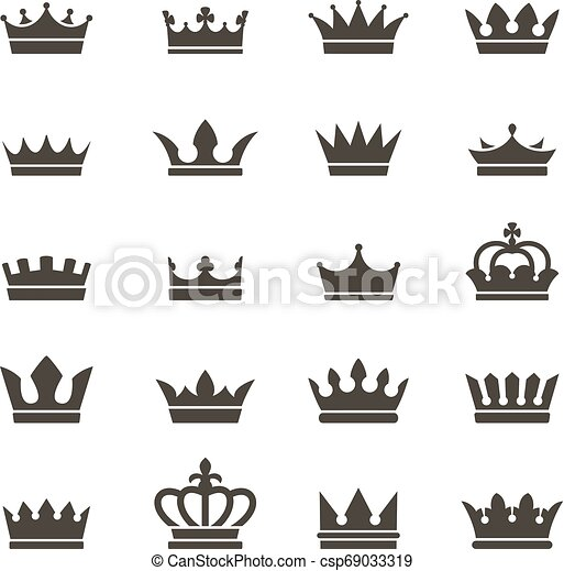 Crown Icons Queen King Crowns Luxury Royal Crowning Princess Tiara Heraldic Winner Award Jewel Royalty Monarch Black Flat Canstock