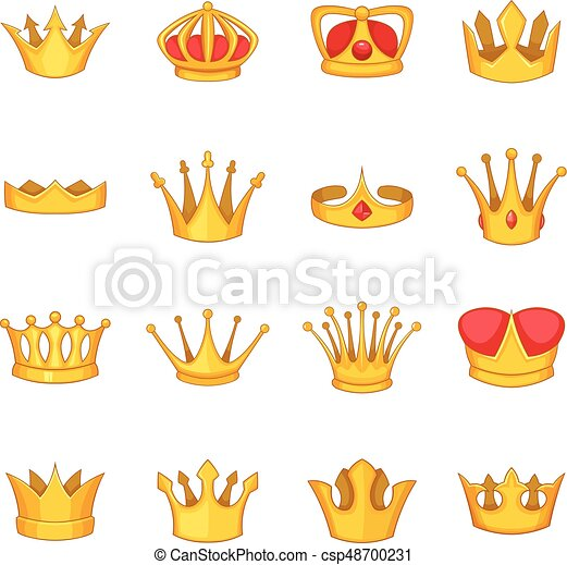 Crown icons set, cartoon style - csp48700231