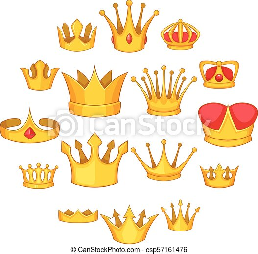 Crown icons set, cartoon style - csp57161476