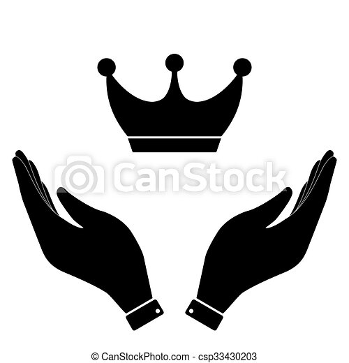 Crown In Hand Icon Vanity Power Symbol Vector Illustration