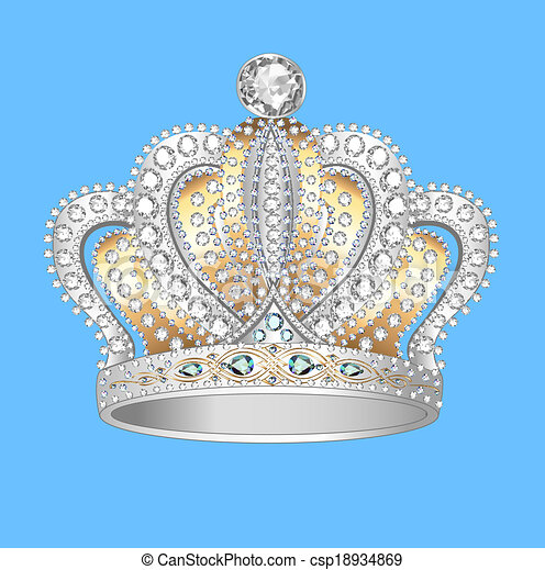 crown of gold silver and precious stones - csp18934869