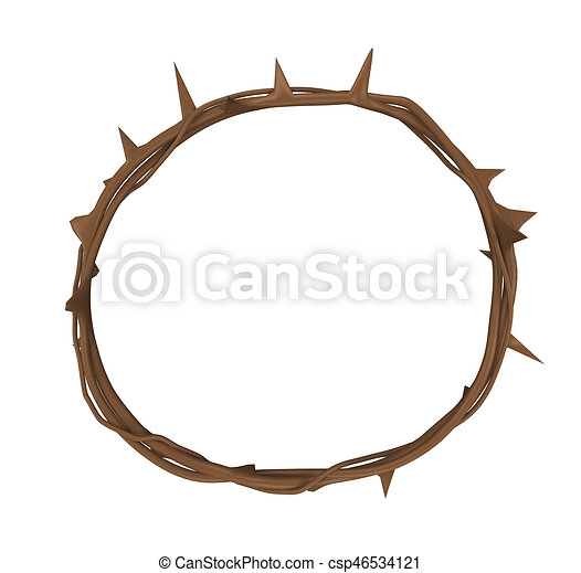 crown of thorns isolated on white background 3d render clip art rh canstockphoto com  crown of thorns clipart black and white