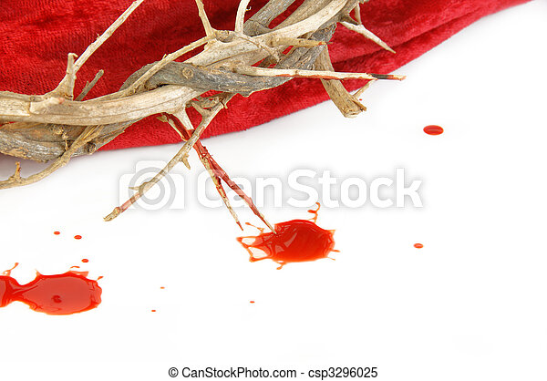 Crown of Thorns on Red Cloth and blood Drops - csp3296025