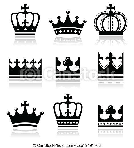 Crown, royal family icons set  - csp19491768