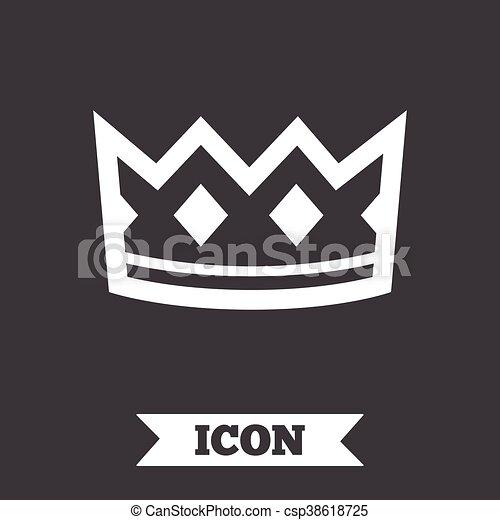 Crown Sign Icon King Hat Symbol Graphic Design Element Flat Crown