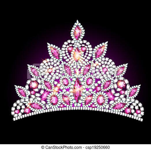 crown tiara women with pink gemstones - csp19250660