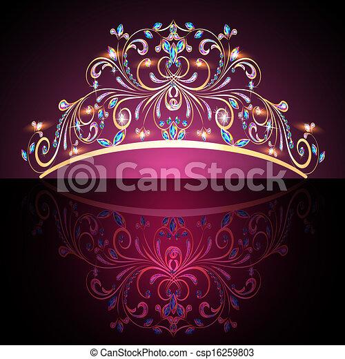crown tiara womens gold with precious stones - csp16259803
