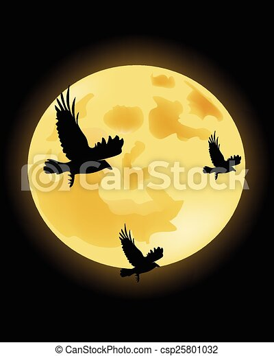 Crows on the background of the moon - csp25801032