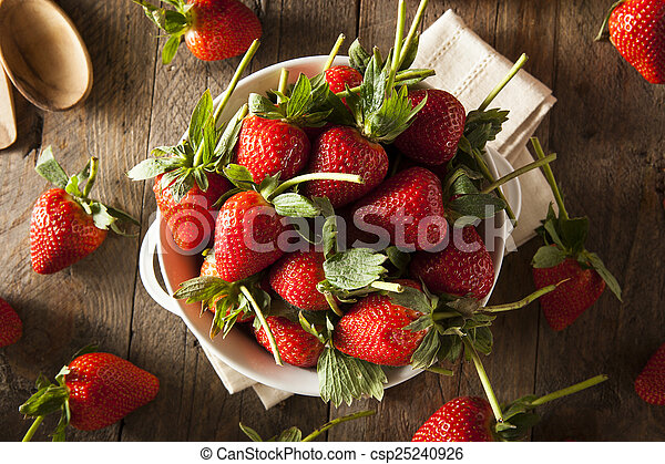 cru, morangos, orgânica, talo longo - csp25240926