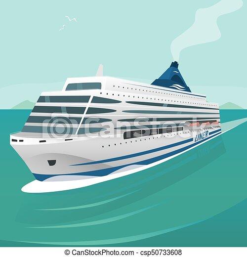 El crucero atraviesa las olas en mar abierto - csp50733608