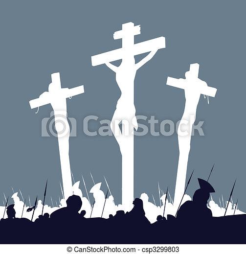 cruces, escena, cristo, -, tres, jesús, crucifixión - csp3299803