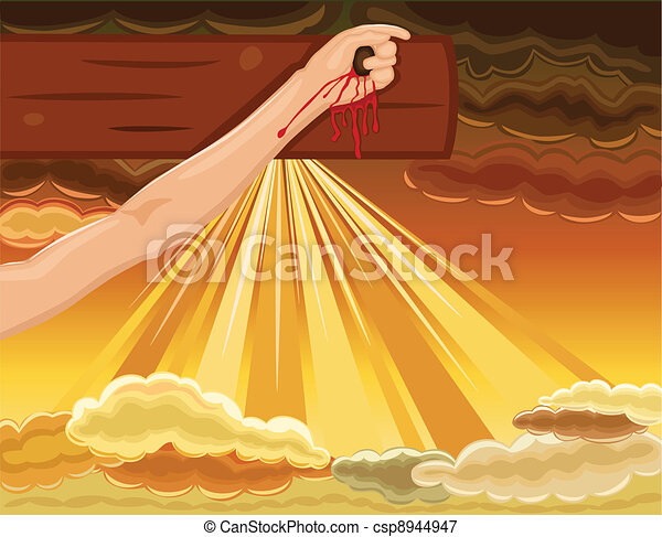 Crucifixion - hand of Jesus nailed to the Cross - csp8944947