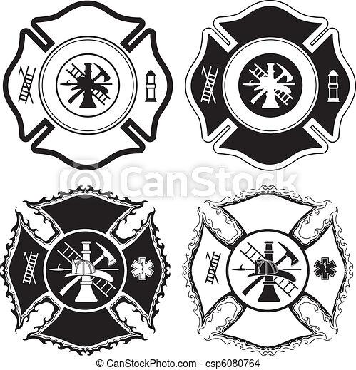 crucifixos, bombeiro, símbolos - csp6080764
