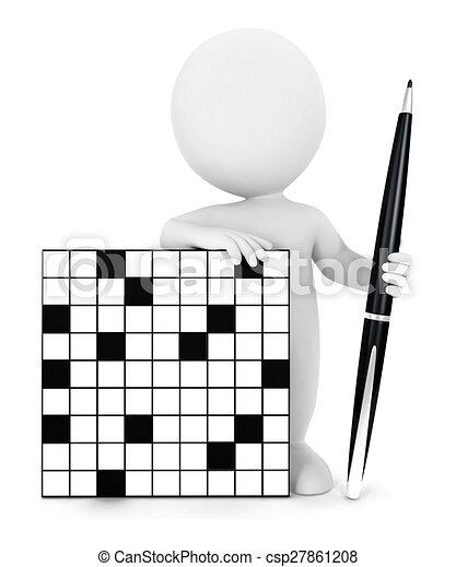 Crucigrama de los blancos en 3D - csp27861208