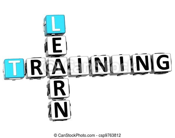 cruciverba, addestramento, 3d, imparare - csp9763812