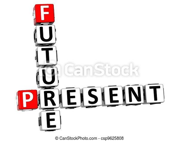 cruciverba, futuro, presente, 3d - csp9625808
